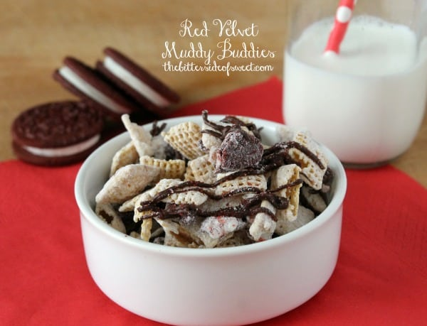 Red Velvet Muddy Buddies - The Bitter Side of Sweet