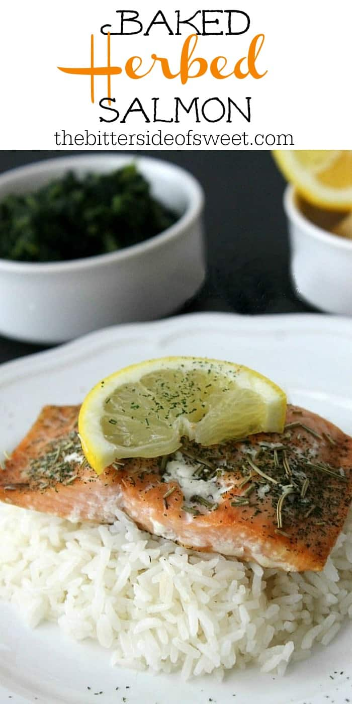 Baked Herbed Salmon perfect for fish Fridays or all year round! Easy salmon topped with a few herbs and baked to make a simple easy dinner.  | The Bitter Side of Sweet #salmon #fishfridays #lent #easy
