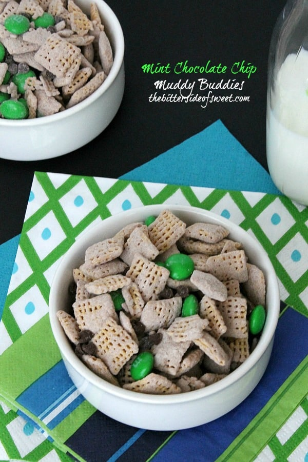 Mint Chocolate Chip Muddy Buddies - The Bitter Side of Sweet