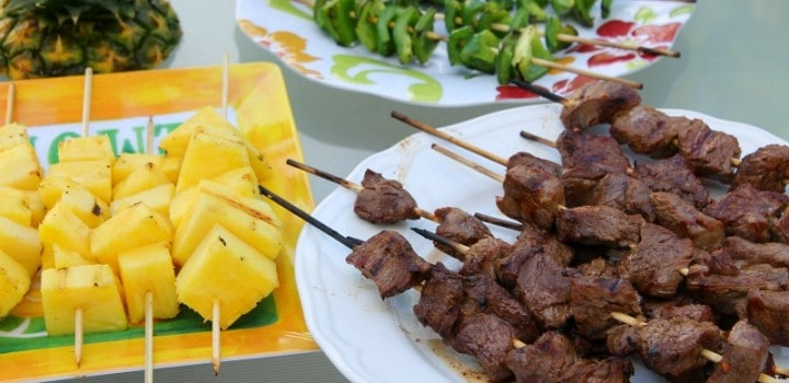 Steak Skewers with Green Peppers and Pineapple