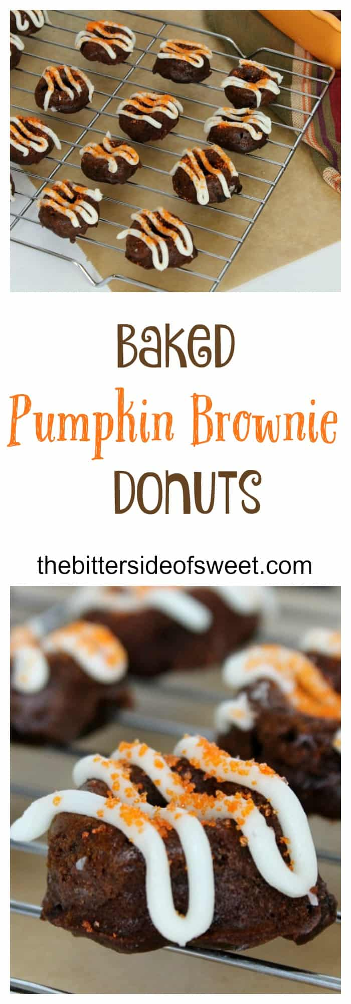 Baked Pumpkin Brownie Donuts - The Bitter Side of Sweet