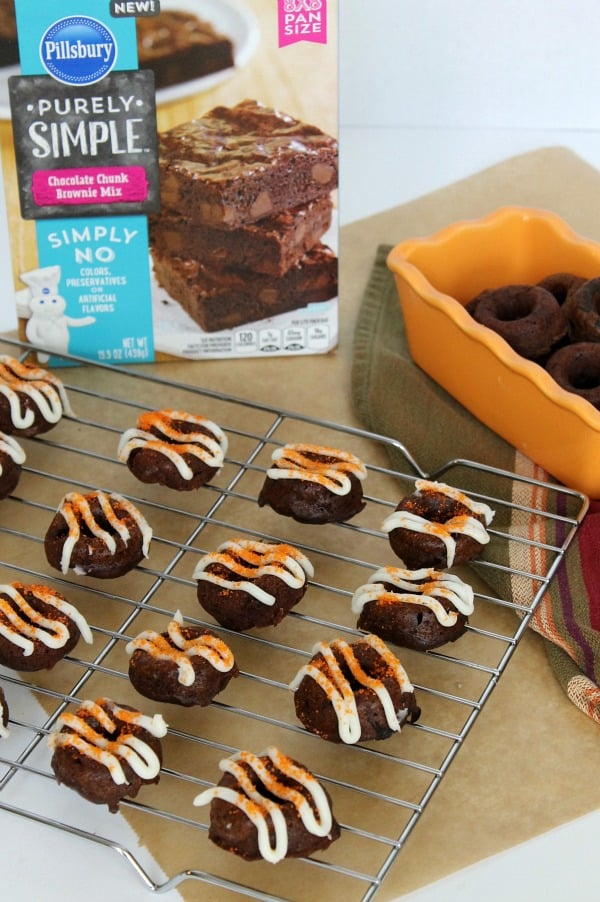 Baked Pumpkin Brownie Donuts - The Bitter Side of Sweet #PurelySimple #ad