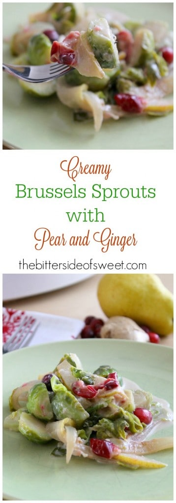 Creamy Brussels Sprouts  with Pear and Ginger  - The Bitter Side of Sweet #sponsored