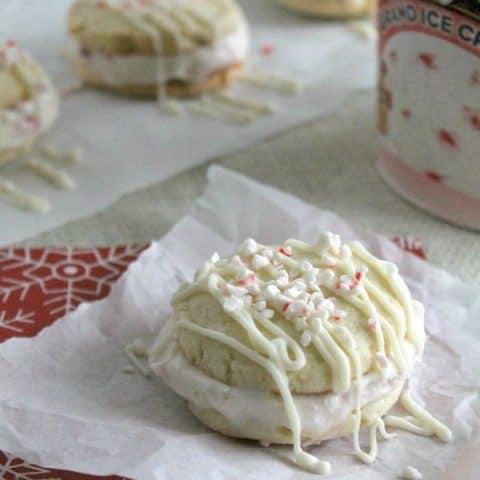 Peppermint Sugar Cookie Ice Cream Sandwiches