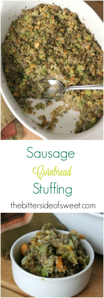 Sausage Cornbread Stuffing - The Bitter Side of Sweet #SavorTheSeason #ad