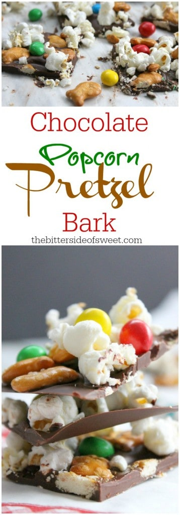Chocolate Popcorn Pretzel Bark | The Bitter Side of Sweet #GoldfishMix #Walmart #ad