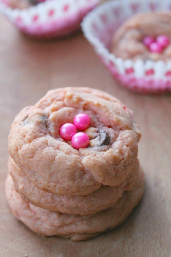 Pink Chocolate Chip Cookies are cute cookie to make with the kids in the kitchen! | The Bitter Side of Sweet