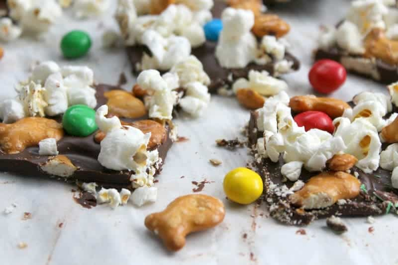 Chocolate Popcorn Pretzel Bark | The Bitter Side of Sweet #GoldfishMix #Walmart #ad