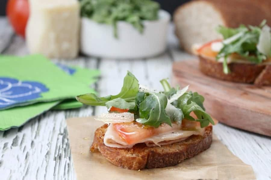 Whole Wheat Smoked Turkey Bruschetta - The Bitter Side of Sweet #OscarMayerNatural #sponsored