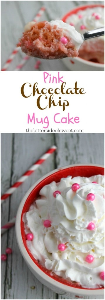 Pink Chocolate Chip Mug Cake - The Bitter Side of Sweet
