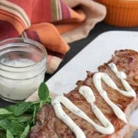 Grilled Steak with Mint Aioli