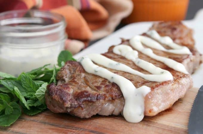 Grilled Steak with Mint Aioli | The Bitter Side of Sweet