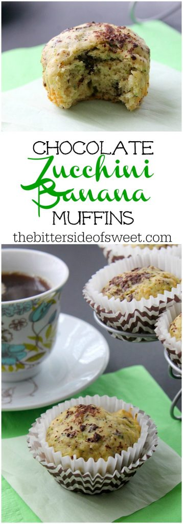 Chocolate Zucchini Banana Muffins | The Bitter Side of Sweet #SundaySupper