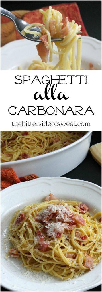 Spaghetti alla Carbonara in a white bowl