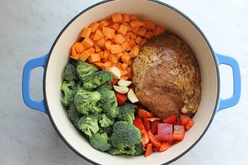 One Pot Roasted Garlic and Herbs Pork with Veggies | The Bitter Side of Sweet #RealFlavorRealFast