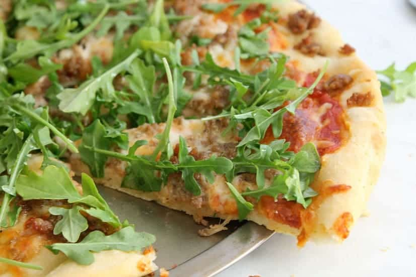 Sausage Arugula Pizza | The Bitter Side of Sweet #SundaySupper