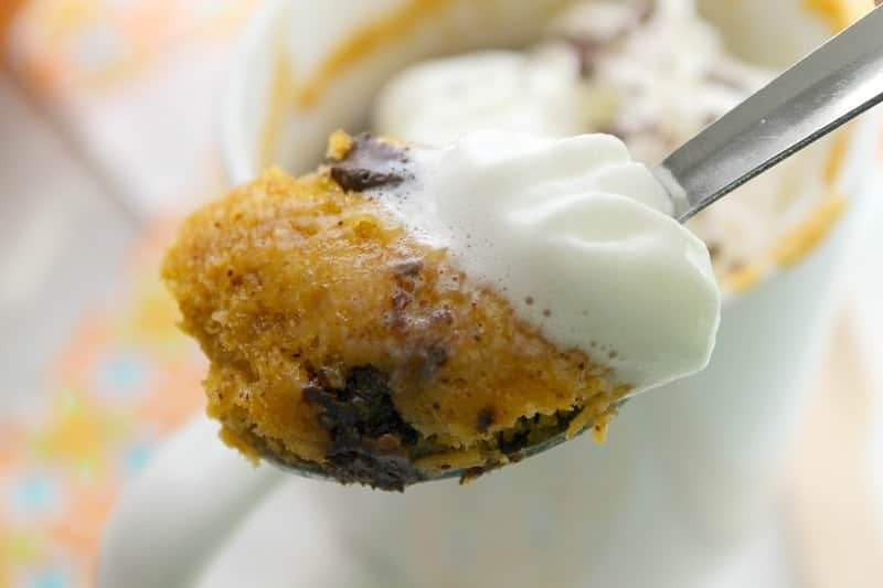 Chocolate Chip Pumpkin Mug Cake