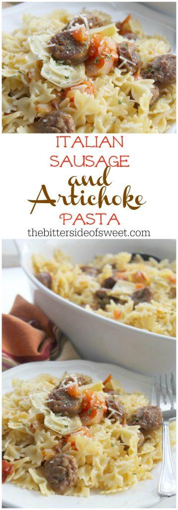 Italian Sausage and Artichoke Pasta (Pasta con salsiccia e carciofo) | The Bitter Side of Sweet #ad