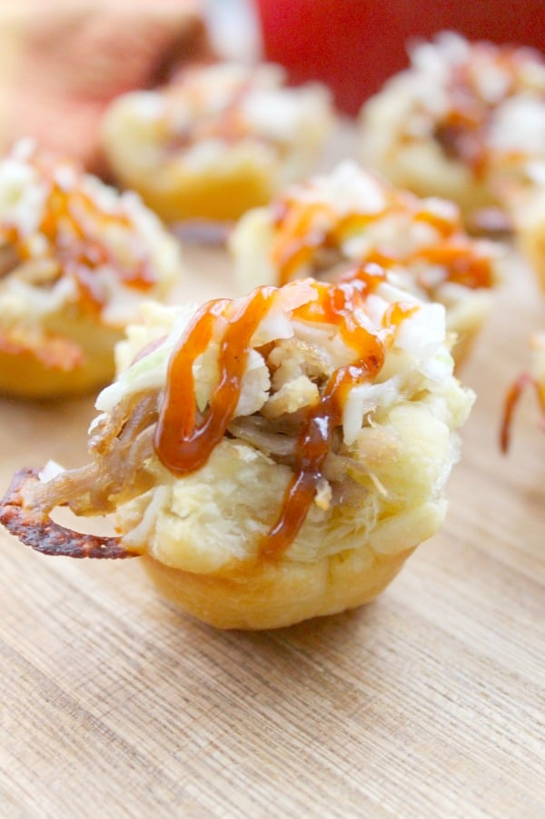Cheesy BBQ Shredded Pork Cups | The Bitter Side of Sweet