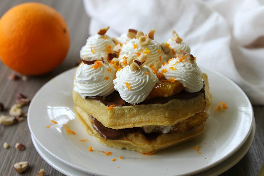 Chocolate Hazelnut Orange Waffle Cake   The Bitter Side of Sweet #ad #LeggoMyEggo #HearTheNews