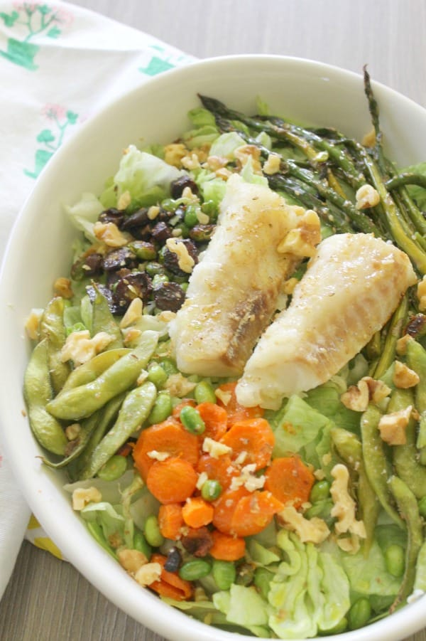 Roasted Cod and Edamame Salad | The Bitter Side of Sweet #SundaySupper