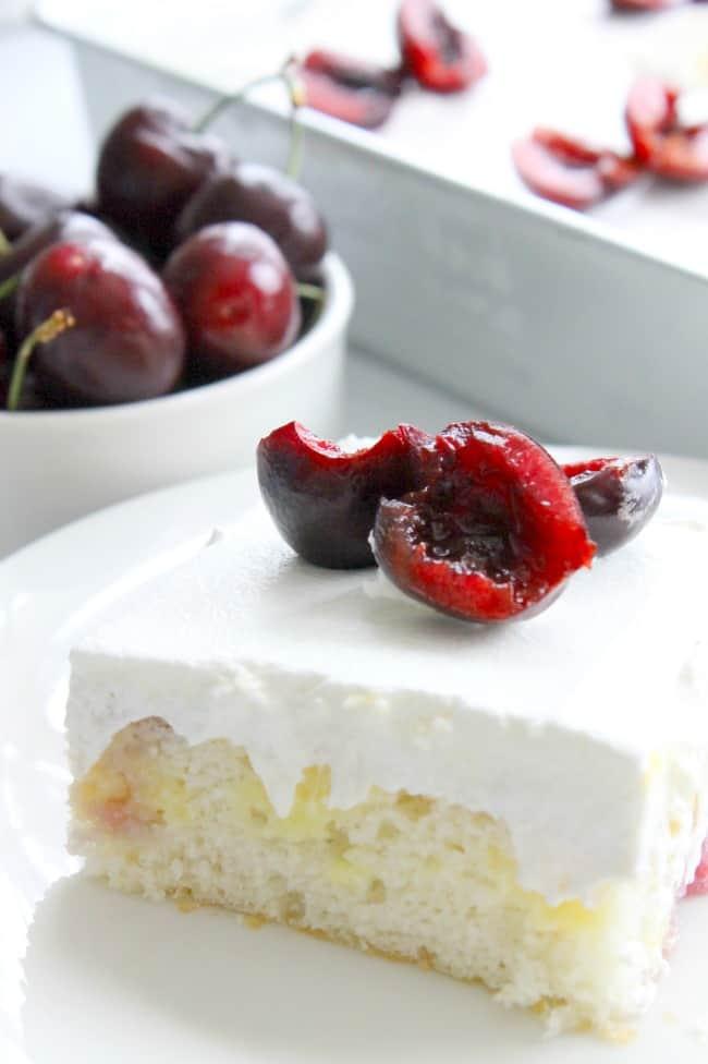 Cherry Vanilla Poke Cake | The Bitter Side of Sweet #SummerDessertWeek #ad