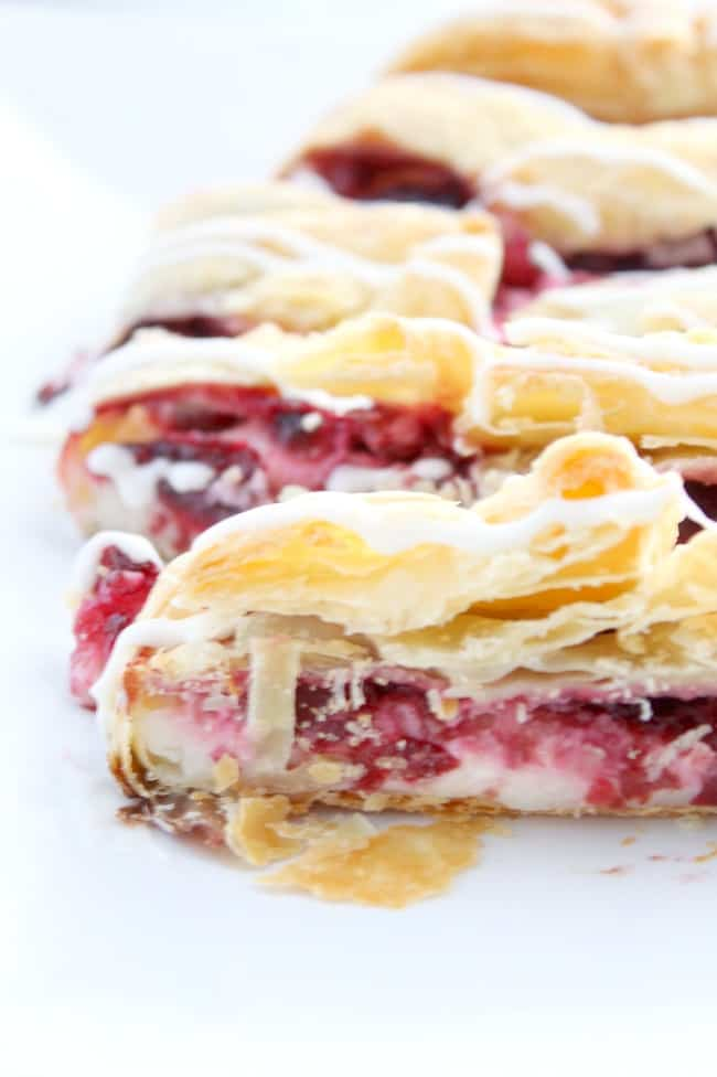 This Cherry Cream Cheese Danish Braid Recipe couldn't be easier. Just a few ingredients and you'll have a freshly baked Danish for brunch!