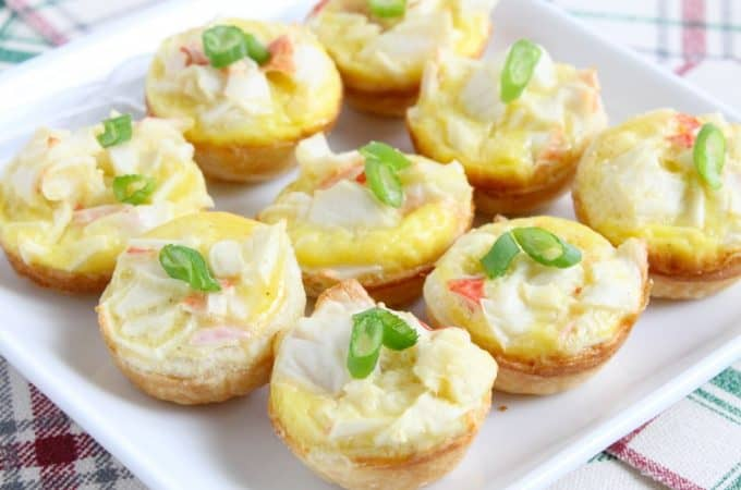 Mini Crab Quiche Tarts   The Bitter Side of Sweet #ad ##CrabDelightfulHoliday #crab #appetizer