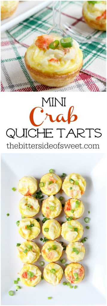 Mini Crab Quiche Tarts | The Bitter Side of Sweet #ad ##CrabDelightfulHoliday #crab #appetizer