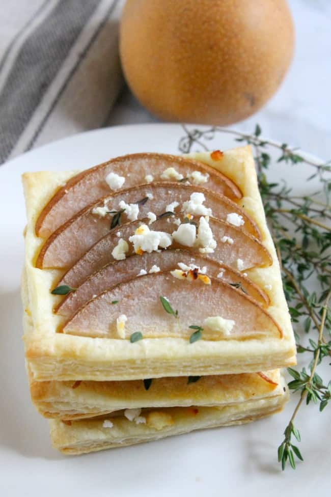 Pear Thyme Feta Tarts | The Bitter Side of Sweet #puffpastry #appetizer