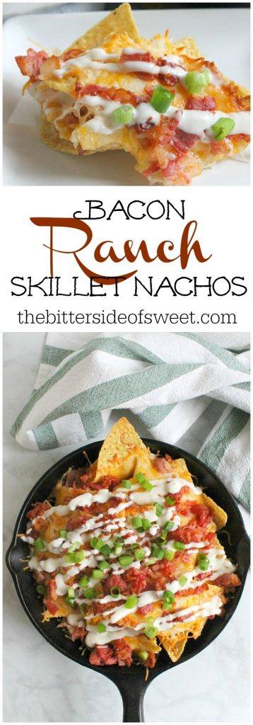 Bacon Ranch Skillet Nachos in cast iron skillet