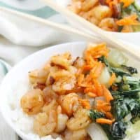 Teriyaki Shrimp Rice Bowl with Bok Choy #SundaySupper