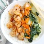 Teriyaki Shrimp Rice Bowl with Bok Choy | The Bitter Side of Sweet #SundaySupper #shrimp #ricebowl
