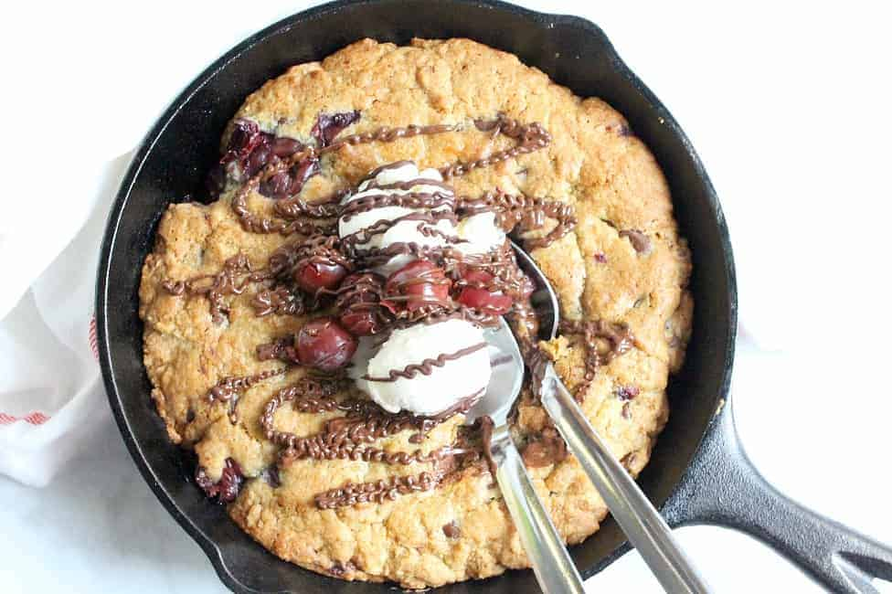 Chocolate Cherry Skillet Cookie in skillet