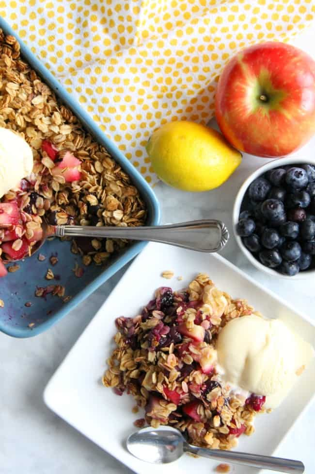 Apple Blueberry Crisp on white plate