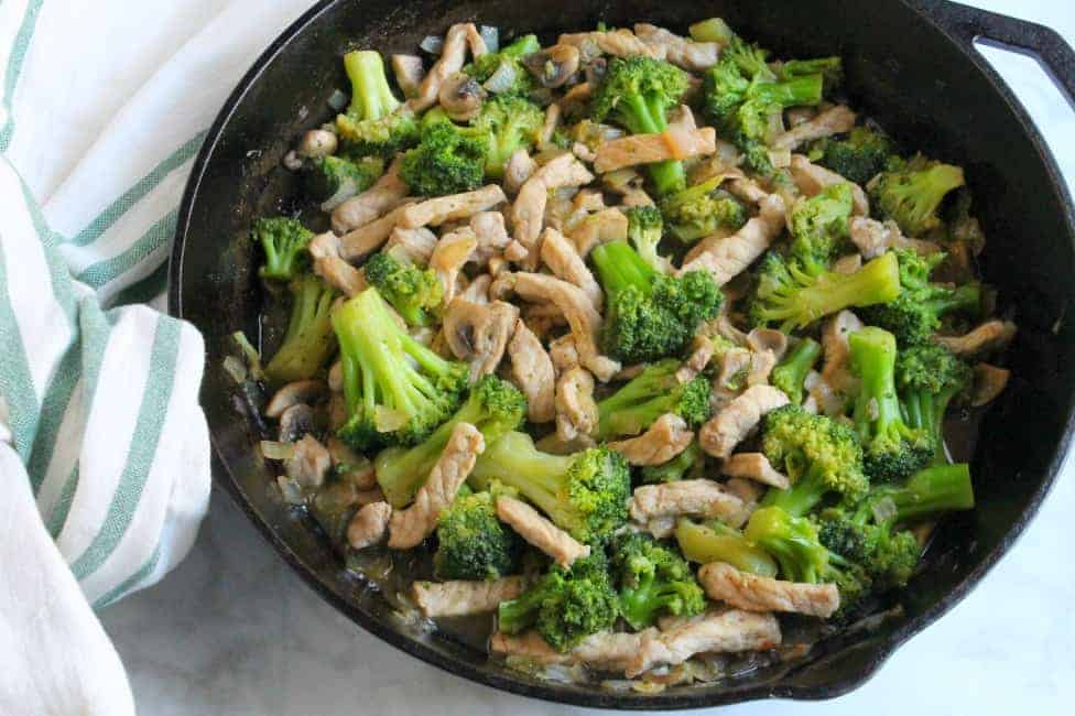 Broccoli Pork Stir Fry in skillet