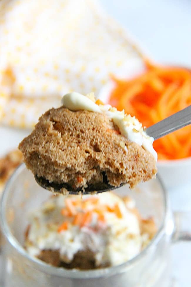Carrot Cake Mug Cake with Cream Cheese Frosting