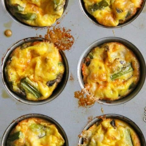 Asparagus, Mushroom and Cheese Egg Cups
