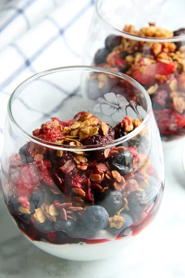 Mixed Berry Crisp in glass cup