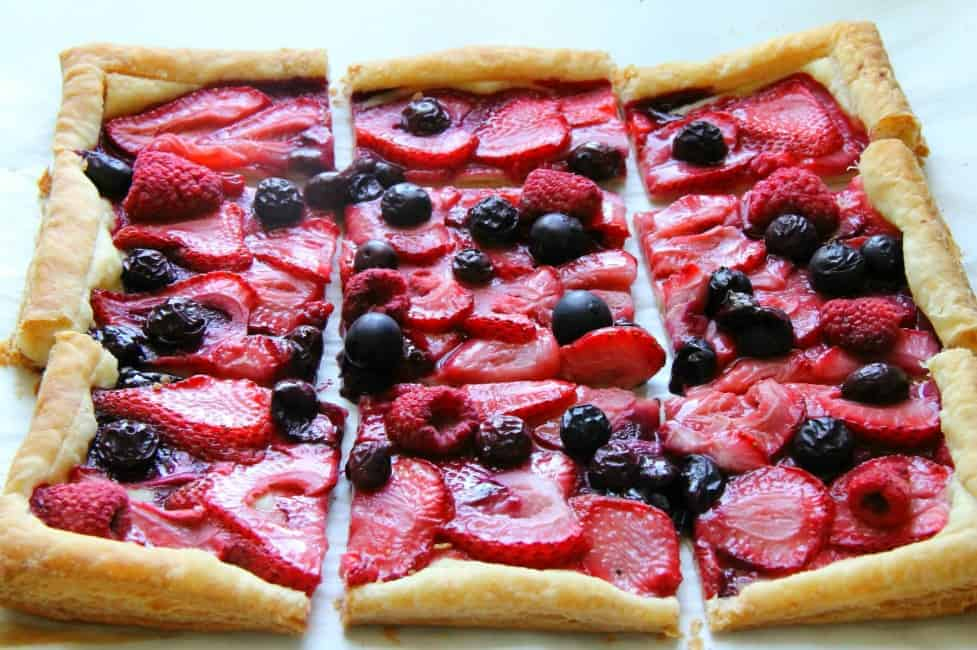 Mixed Berry Tart on white background