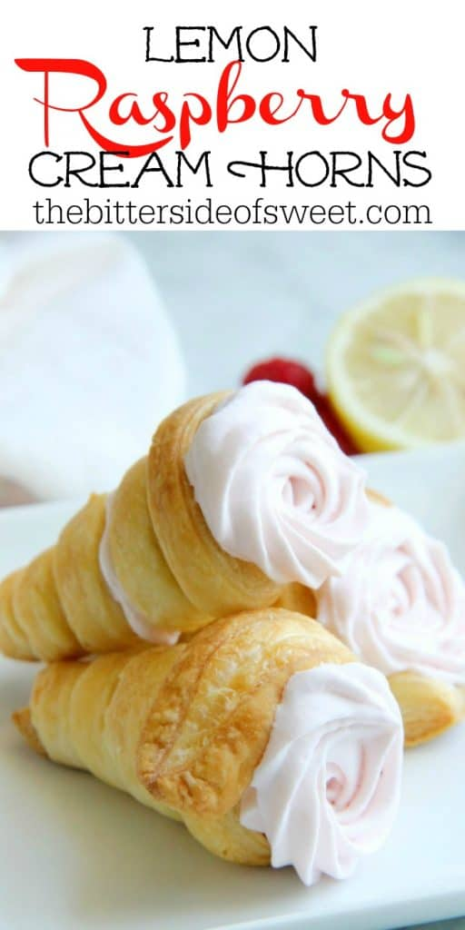 Lemon Raspberry Cream Horns stacked on white plate