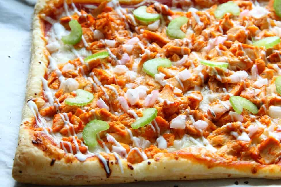 Buffalo Chicken Puff Pastry Pizza