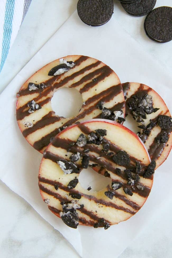 Chocolate Oreo Apple Donuts white background