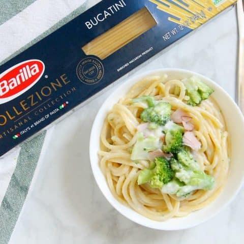 Creamy Broccoli and Ham Bucatini