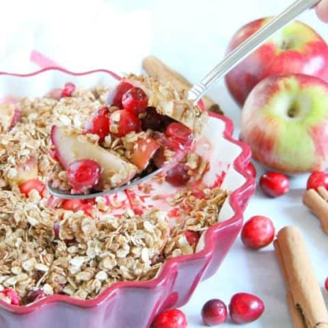 Cranberry Apple Crisp in red bowl