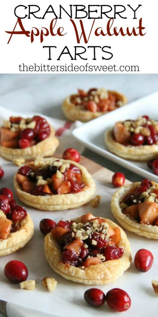 Cranberry Apple Walnut Tarts with text