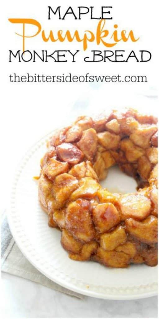 Maple Pumpkin Monkey Bread on white plate