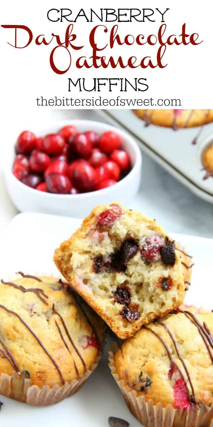 Your breakfast this winter just got an upgrade with these Cranberry Dark Chocolate Oatmeal Muffins! With the combination of cranberries and dark chocolate you'll be asking for seconds! | The Bitter Side of Sweet #muffins #chocolate #breakfast