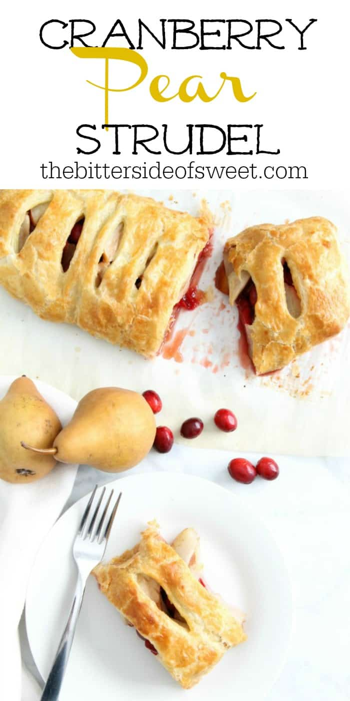 Cranberry Pear Strudel is a simple, sweet dessert! A few ingredients of seasonal fruit and puff pastry and you have the perfect treat! | The Bitter Side of Sweet #puffpastry #cranberry #pear