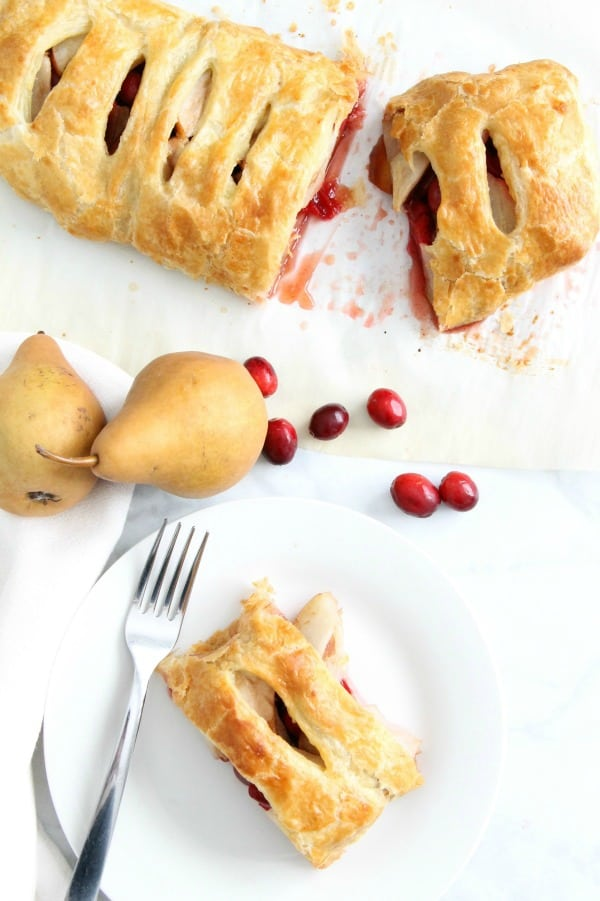 Cranberry Pear Strudel on white plate